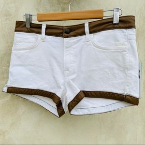 Duck and Cover Faux Leather Denim Shorts White NWT